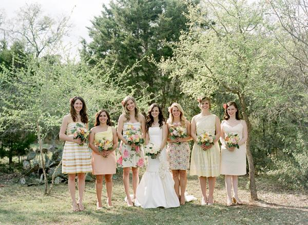 Southern-weddings-floral-bridesmaid-dresses