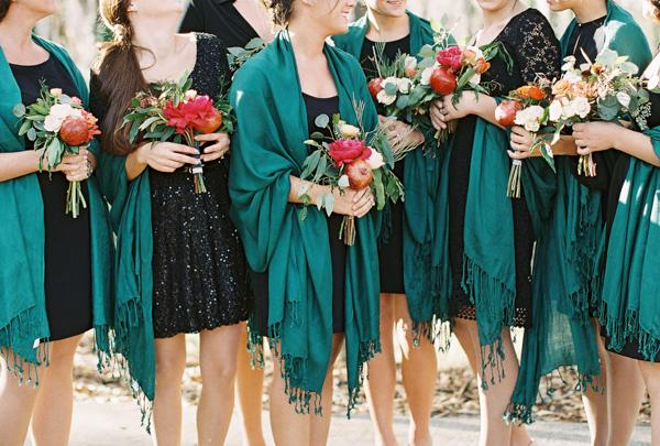 southern-wedding-teal-and-black-bridesmaids