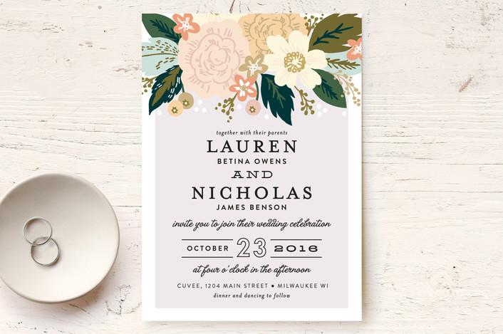 MIN 6RZ INV 001_A_PZ. Classic Floral Wedding Invitation By Minted Designer  ...