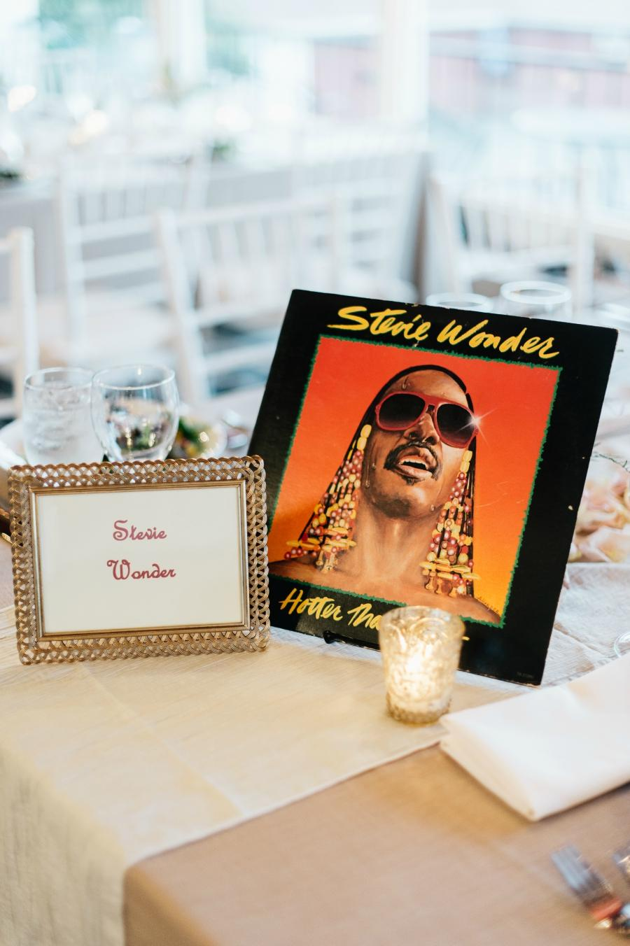 Stevie Wonder Table Number Philadelphia Wedding The Yardley Country Club Papertini Floral Event Design