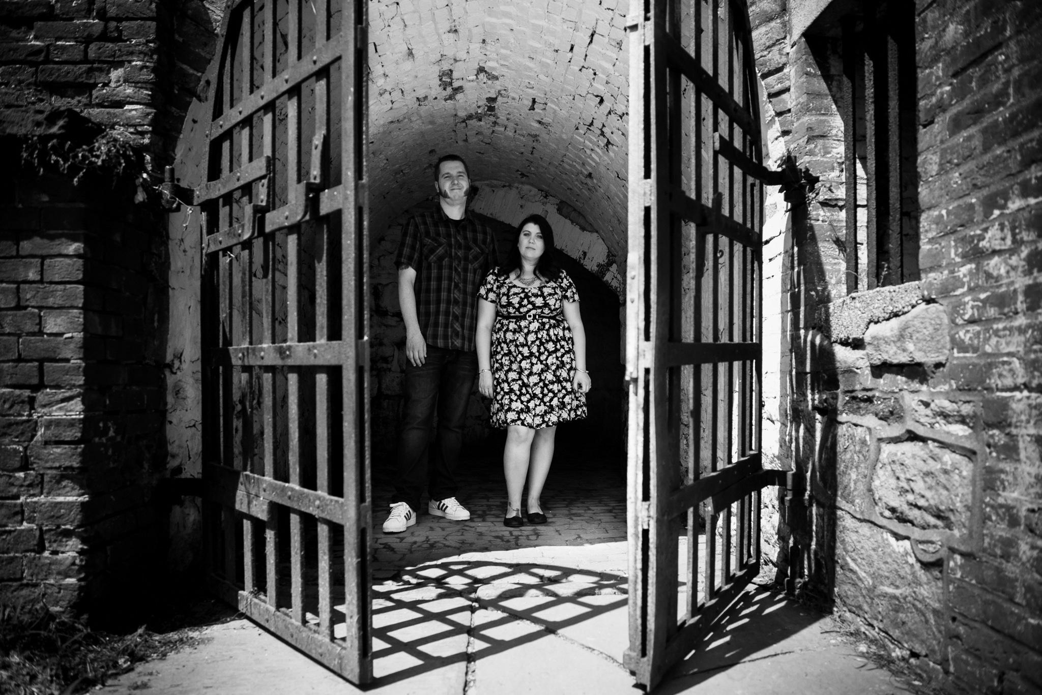 Fort Mifflin Philadelphia Engagement Session Lori Foxworth Black White Raw Photography