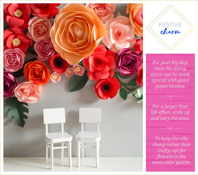 14 flower wall ideas for an unforgettable wedding philly in love make your guests feel like they are in wonderland by attaching bright colored paper flowers to the walls try matching the colors with the brides bouquet mightylinksfo Gallery