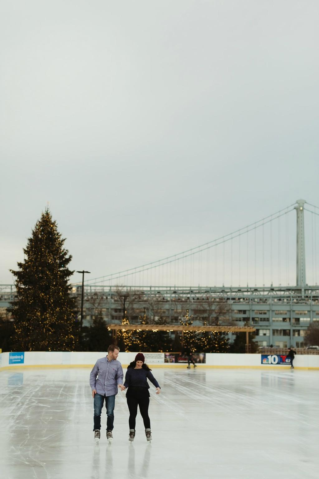 Winter Engagement Session at Blue Cross Riverrink Magdalena Studios Philly In Love Philadelphia Weddings