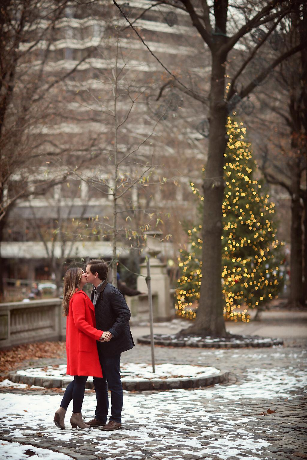 Festive Winter Engagement Session in Rittenhouse Square Alison Conklin Photography Philly In Love Philadelphia Weddings Wedding Inspiration Philadelphia Wedding Blog