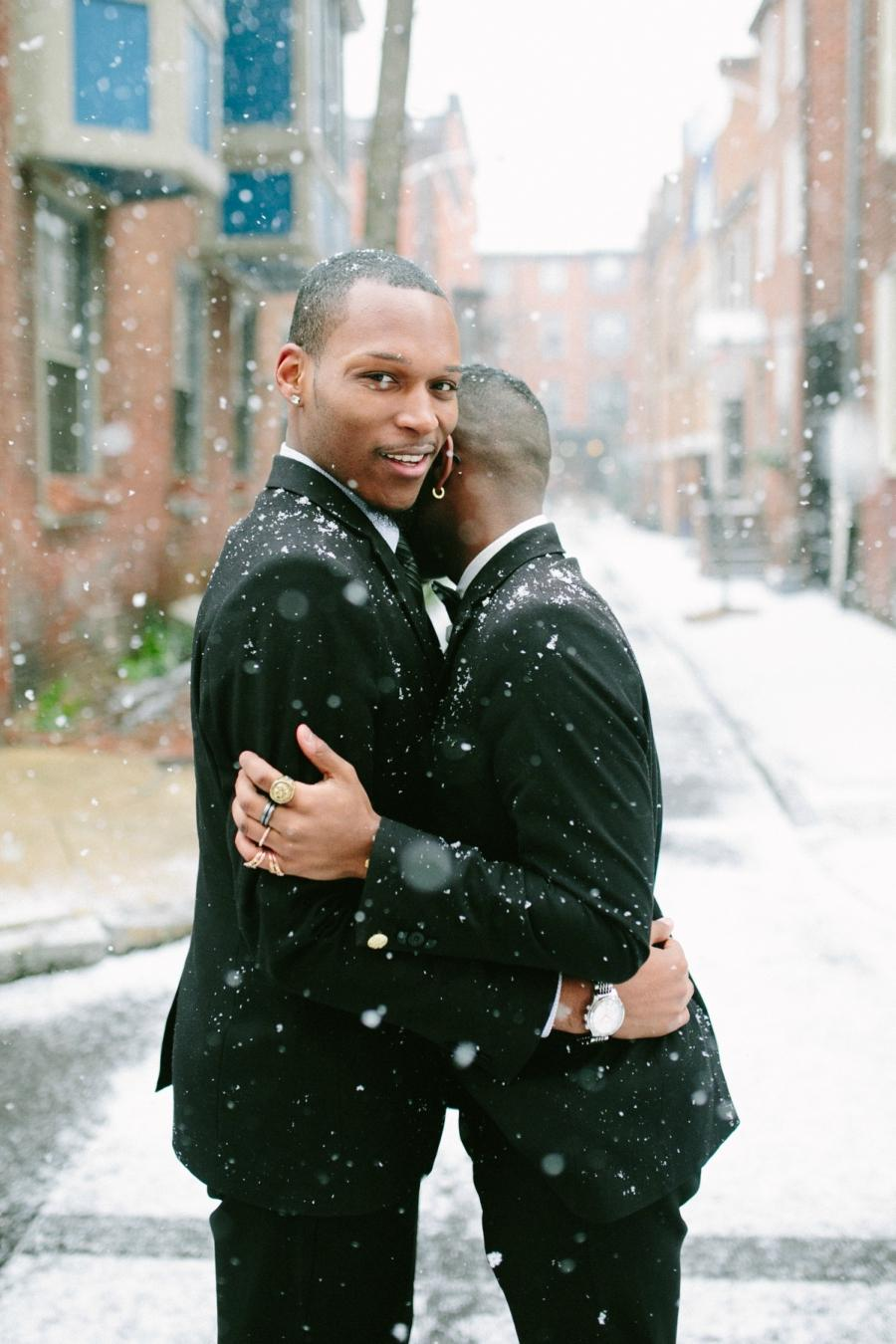Snowy Couple Portraits on Panama Street by Brae Howard Photography Philly In Love