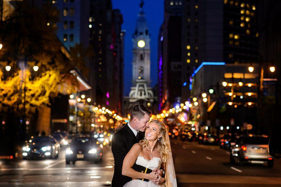 bride and groom in front of city hall philadelphia, daniel moyer photography