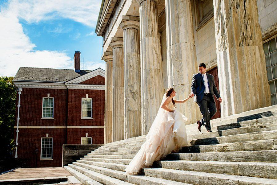Bride and groom at the second bank of the united states, daniel moyer photography
