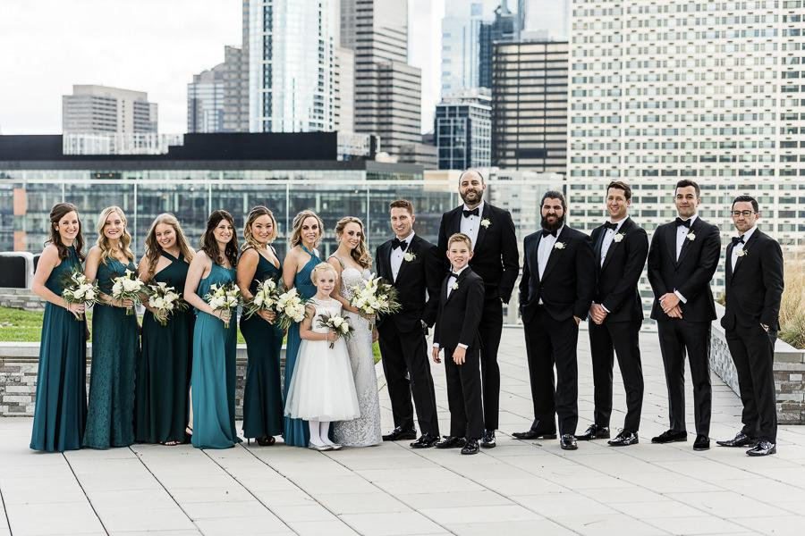 real wedding at the cira centre, bridal party photo skyline