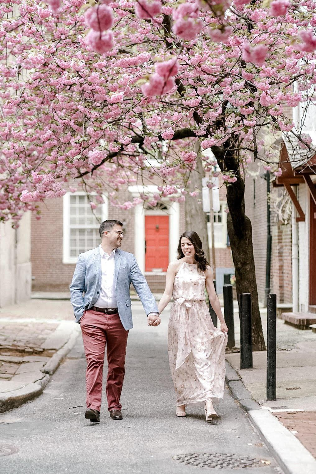 cherry blossom engagement photo in Philadelphia by clicke photography