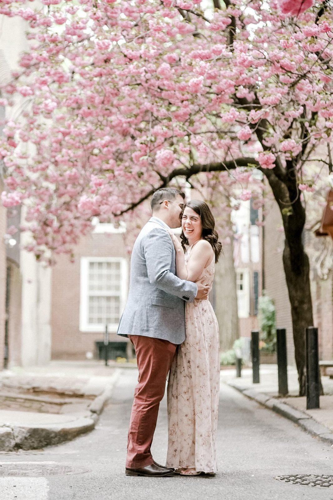 Cherry blossom engagement photo in Philadelphia by clicke photography.