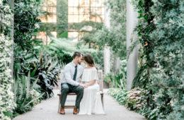 philly couple embracing at longwood gardens engagement photo shoot