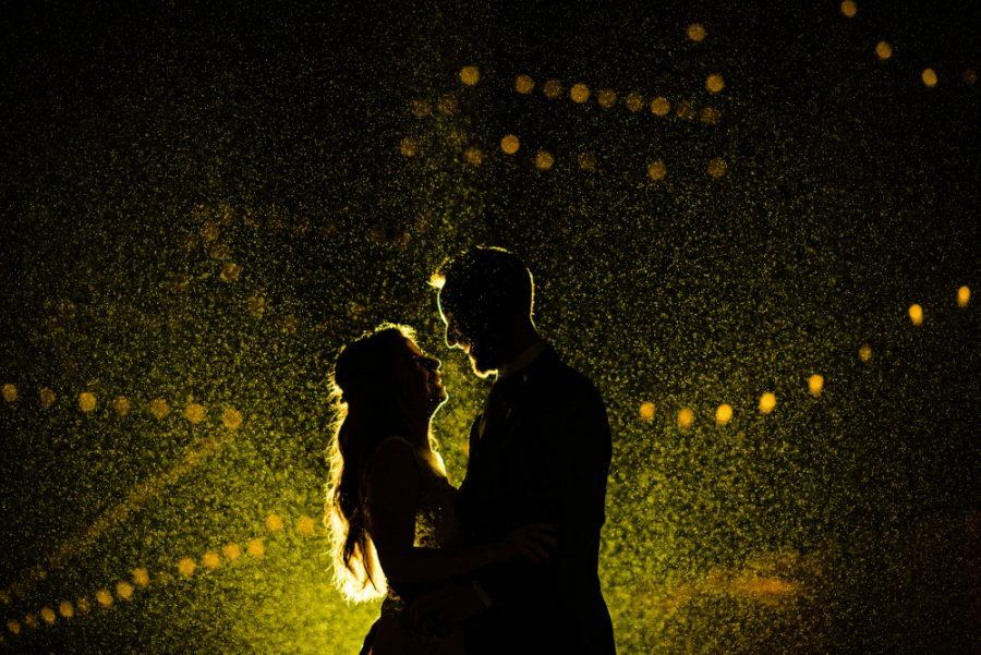 Philadelphia wedding photographers, moon honey photography, bride in groom silhouette in the rain