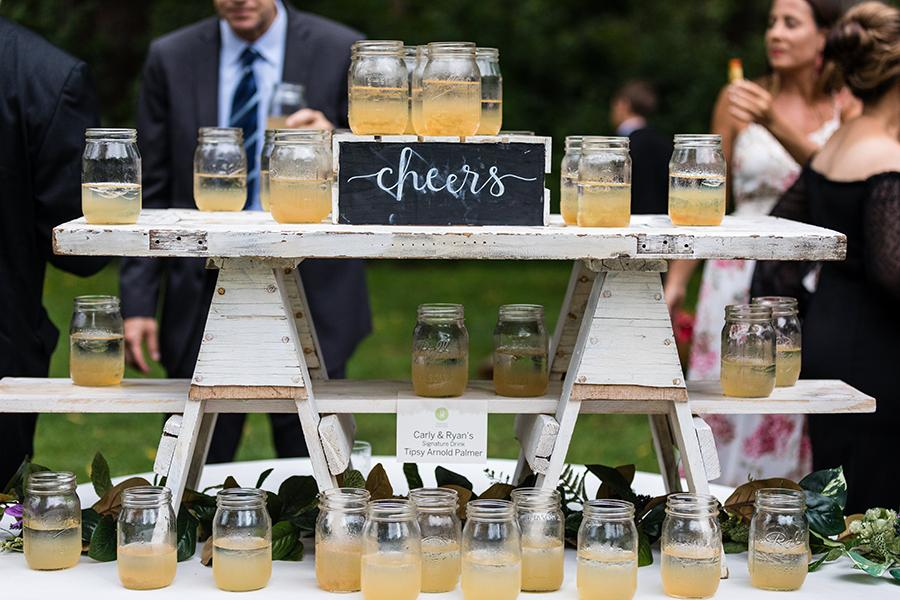 wedding cocktails in mason jars at anthony wayne house by ashley gerrity photography
