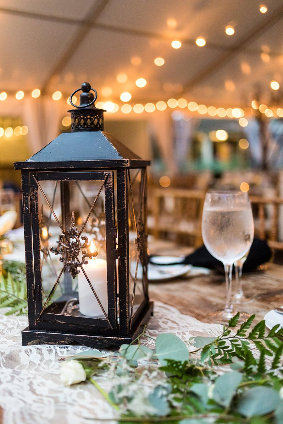 wedding tablescape with rustic lantern at anthony wayne house by ashley gerrity photography