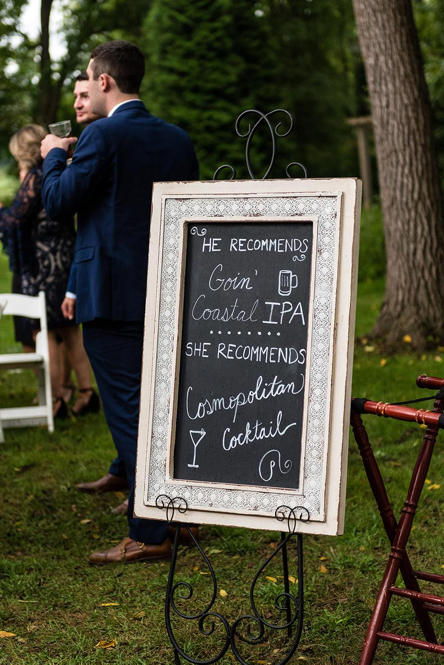 wedding sign featuring bride and groom's cocktails by ashley gerrity photography and philly in love