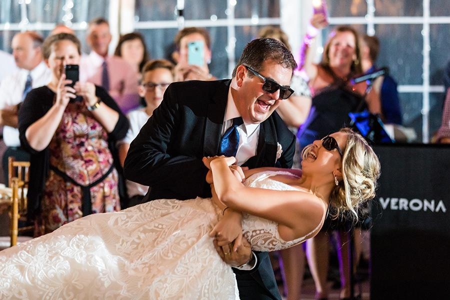 father daughter dance wearing sunglasses during wedding reception at anthony wayne house by ashley gerrity photography and philly in love