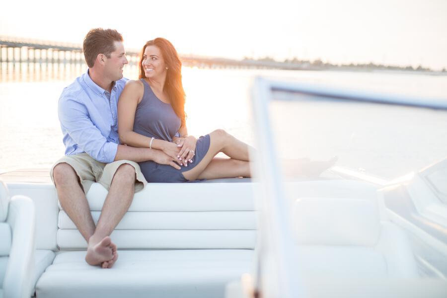 tami ryan photography, engagement photo on boat