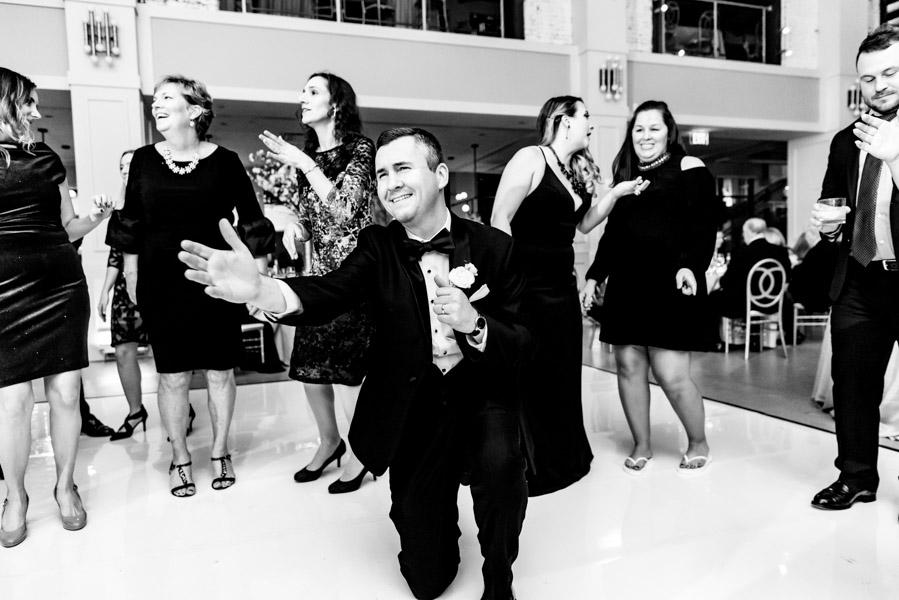Groom on the dance floor at his wedding