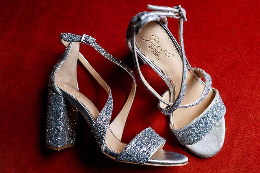 silver sparkly metallic wedding heels by daniel moyer photography