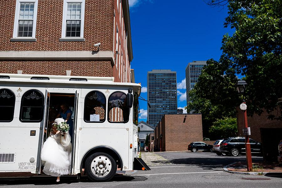 bride riding trolley by daniel moyer photography
