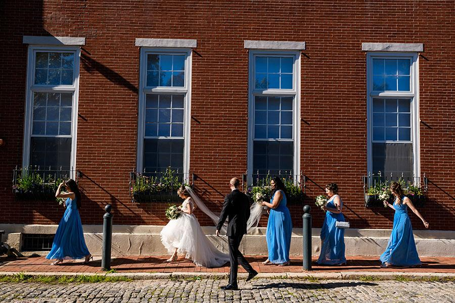 philadelphia bridal party walking in old city by daniel moyer photography