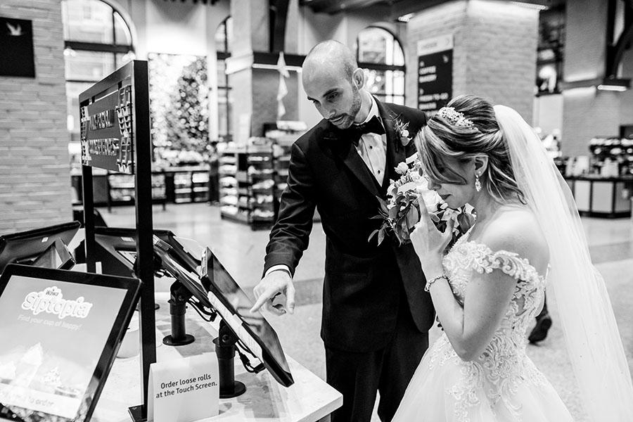 couple at wawa on wedding day by daniel moyer photography