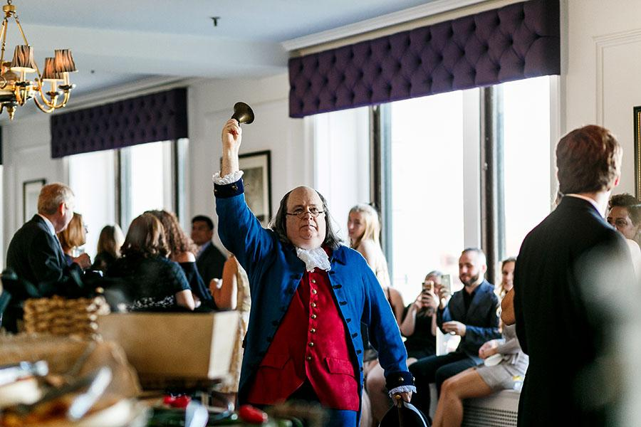 ben franklin impersonator at the downtown club dining room by daniel moyer photography