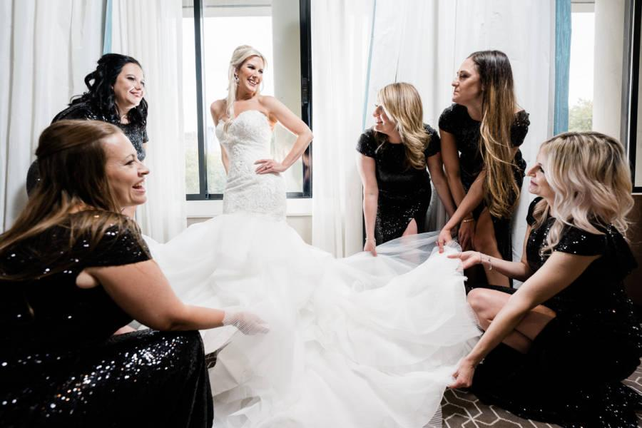 bride and bridesmaids get ready by j & j photography studios