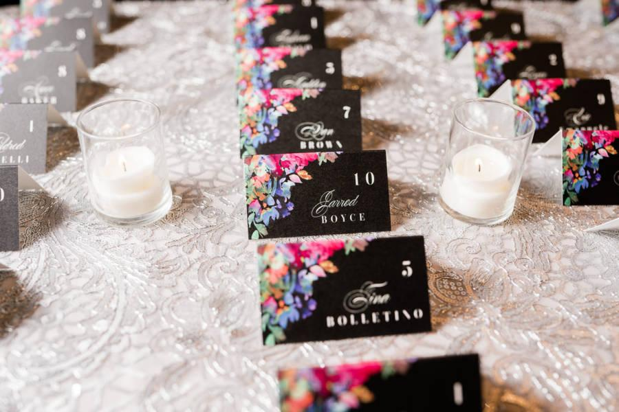 table seating cards at wedding reception