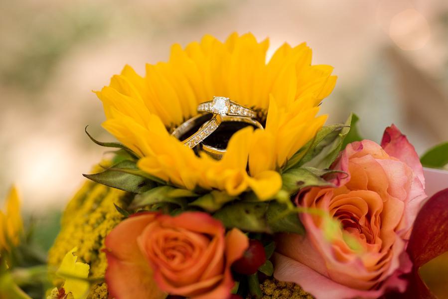 diamond rings in flowers