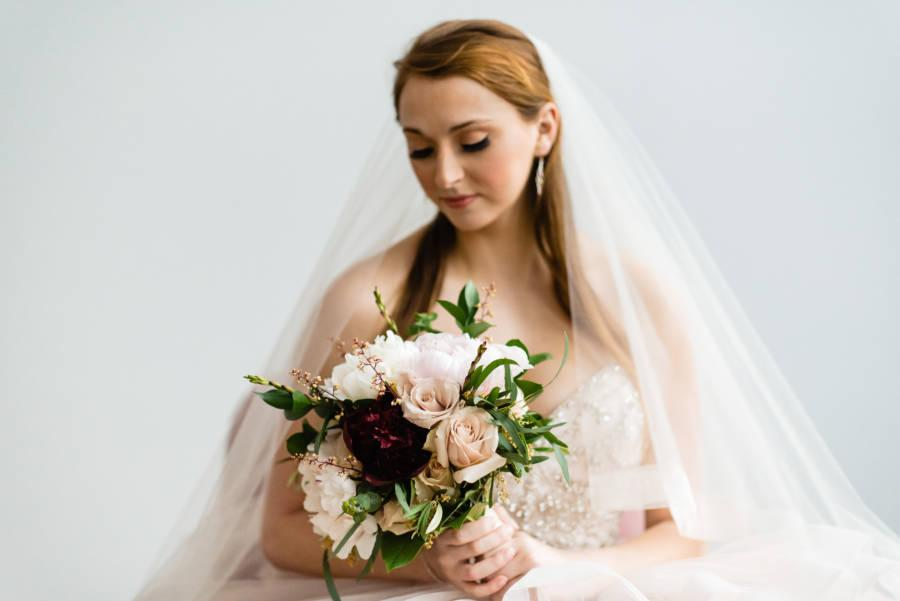 bride wearing horsehair veil with makeup by Dolly Marshall
