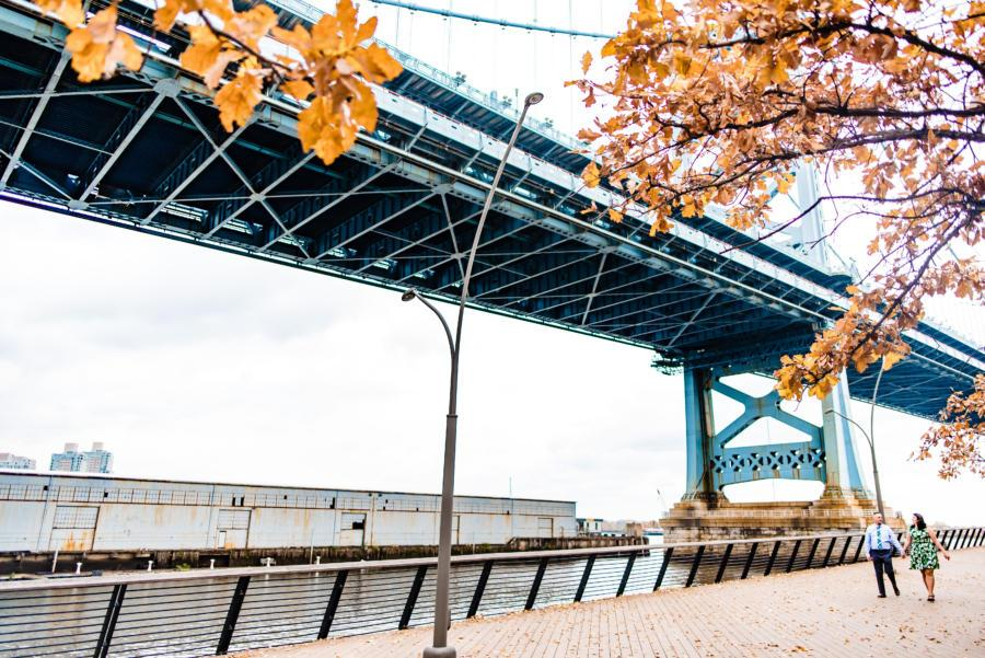 couple walking along Ben Franklin Bridge in Philadelphia