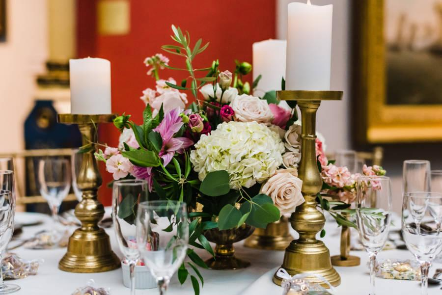 dining table at wedding reception