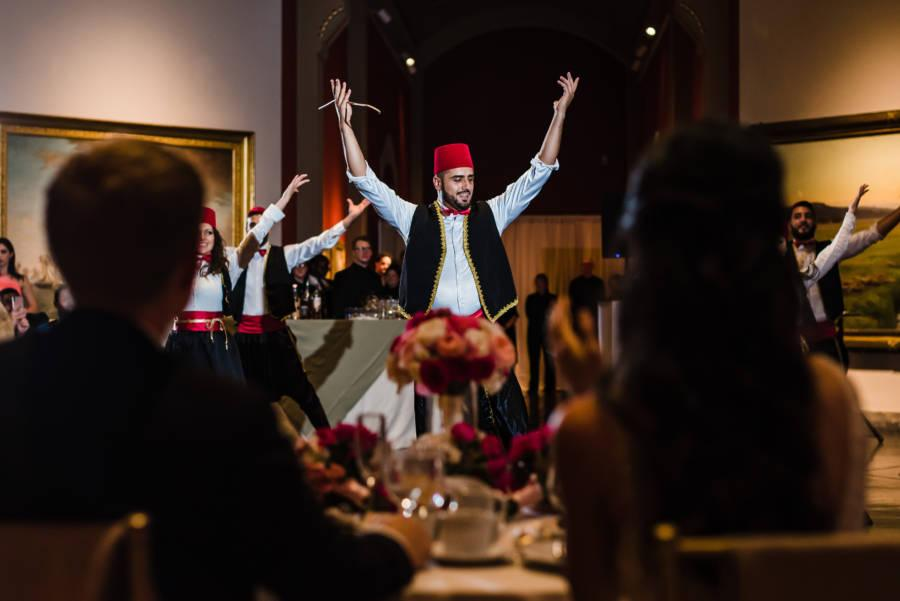 wedding reception with Lebanese dancers
