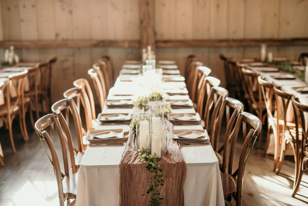 decorated farm table at reception