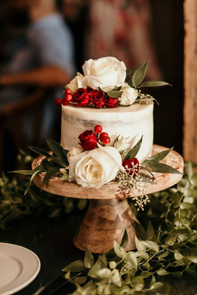 wedding cake decorated with flowers