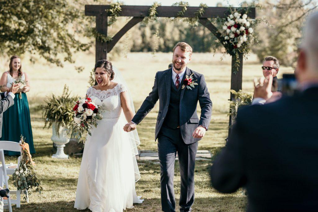 bride and groom married at farm wedding
