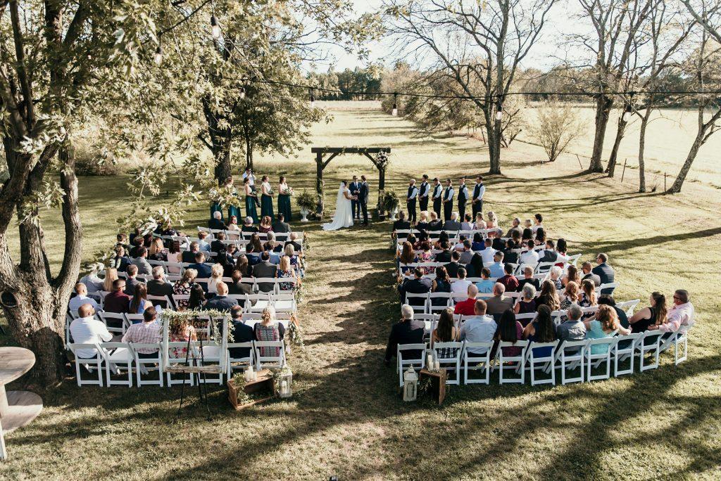 wedding ceremony on farm
