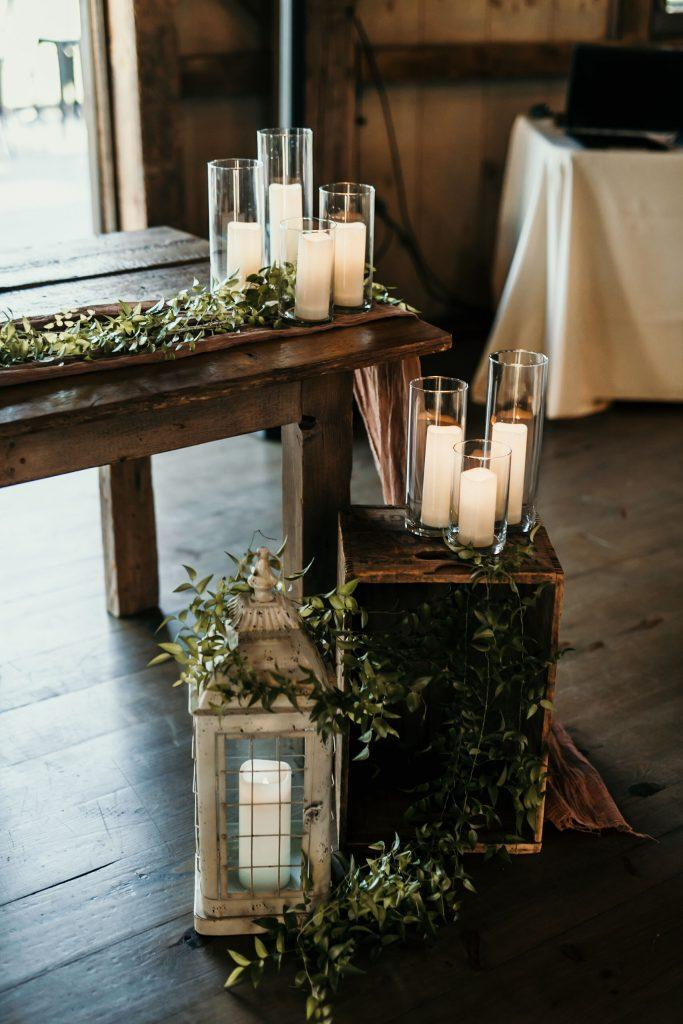 wedding decorations of candles and lanterns