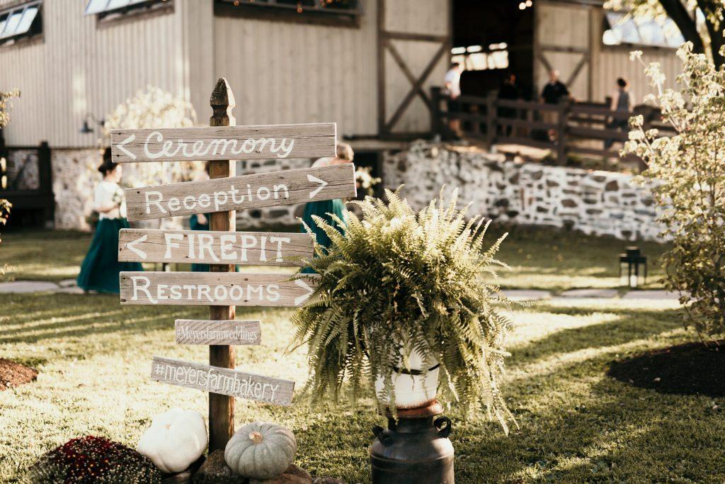 wedding sign at farm reception