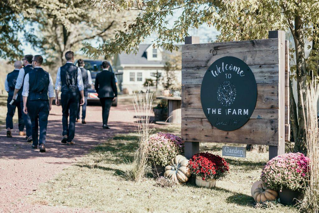 farm sign at wedding