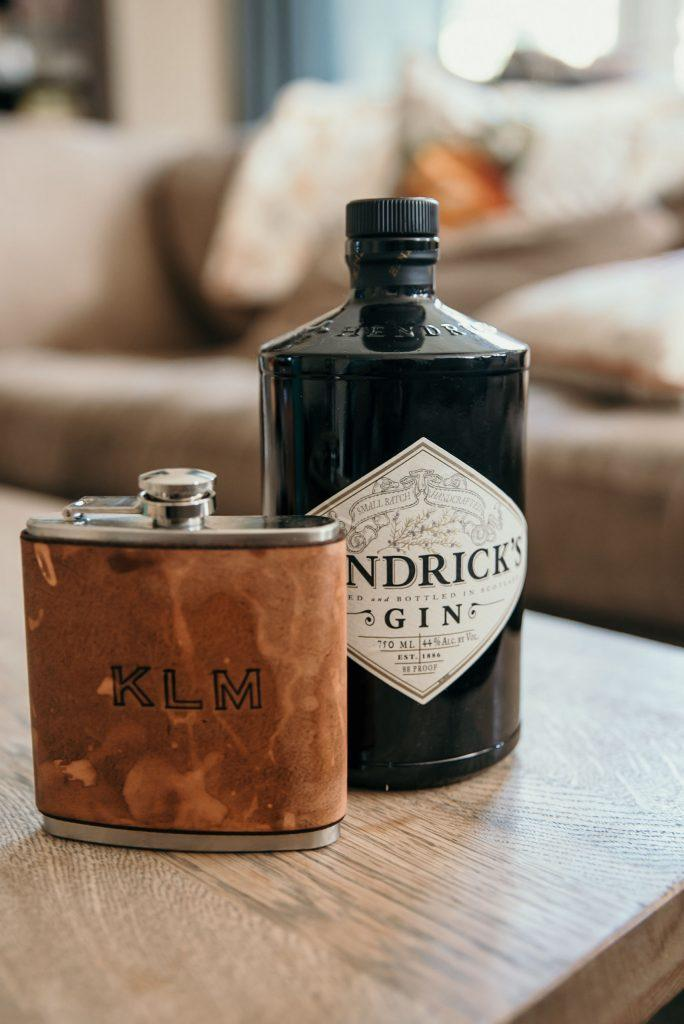 groom's gift of flask with alcohol