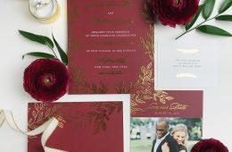 burgundy and gold invitation suite