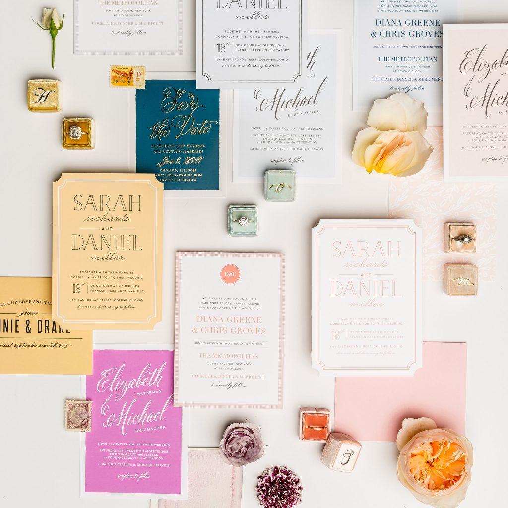 colorful invitation suite