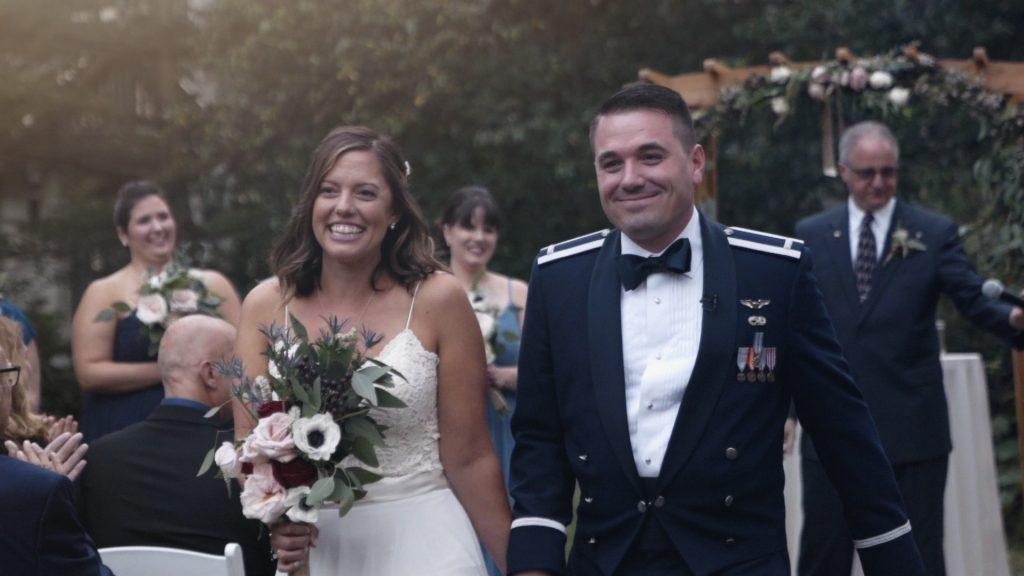 bride and groom get married