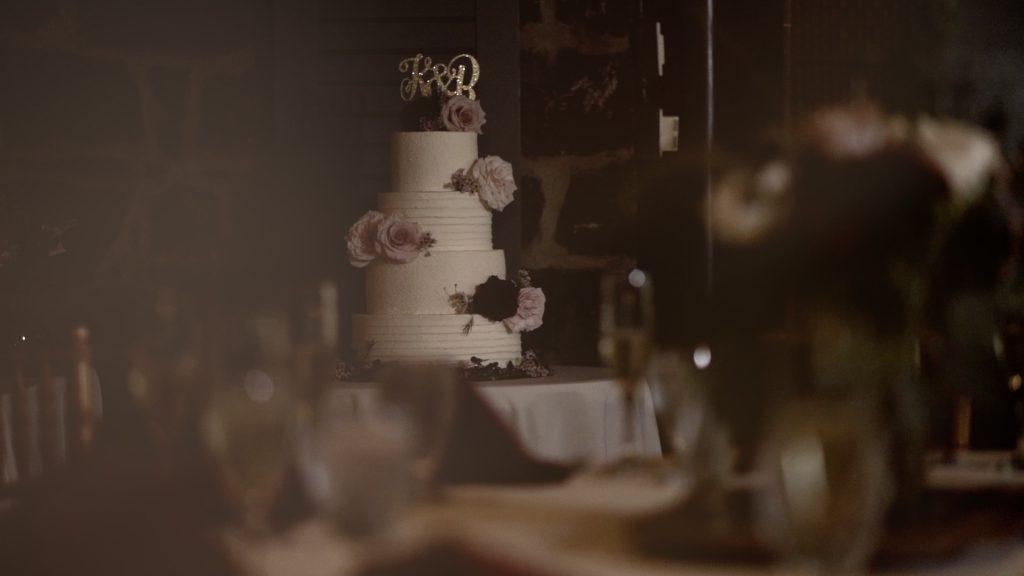 wedding cake at reception