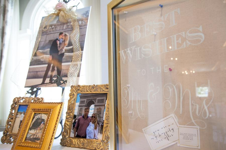 photo display at bridal shower