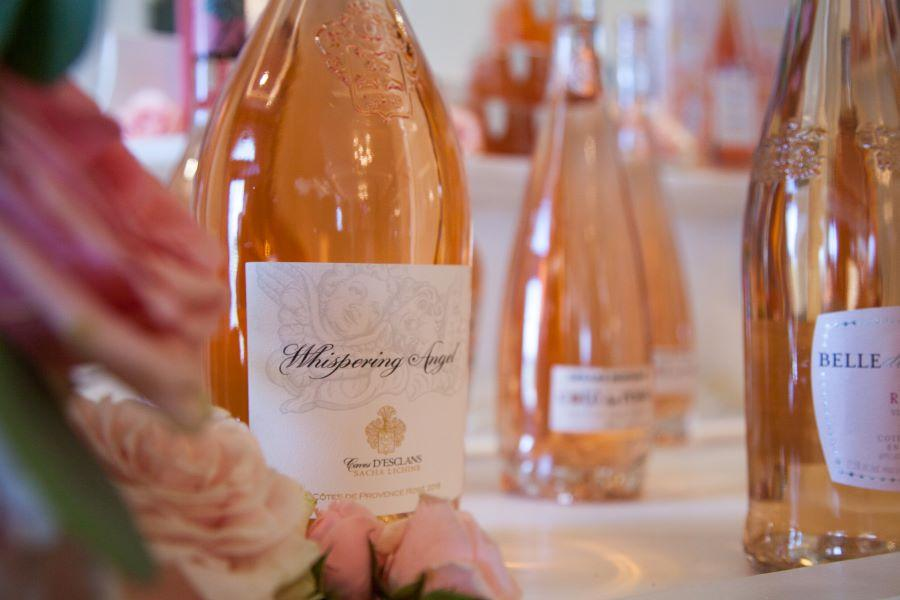 bottles of rose wine