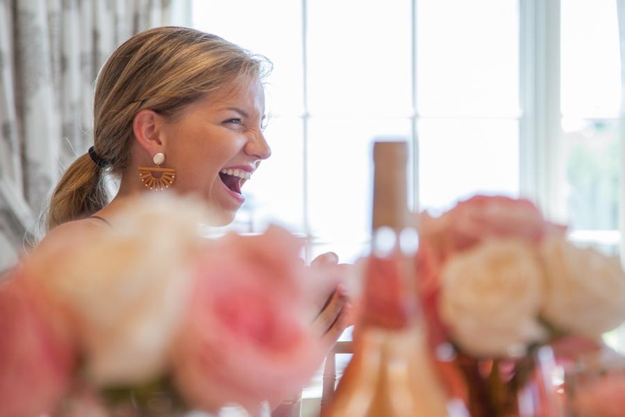friends at rose pink bridal shower