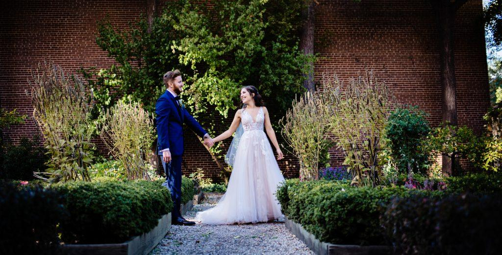 bride and groom in garden, nicole cordisco photography